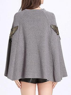 Elegant Plain Cape Sleeve Sweater_4