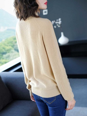 Solid Casual Long Sleeve Cutout Turtleneck Sweater_11