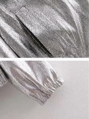 Silver Gathered Paneled Shirt Collar Zipper Pockets Coat_6