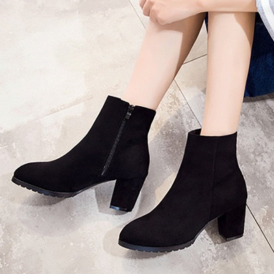 Zipper Chunky Heel Daily Pointed Toe Boots_5