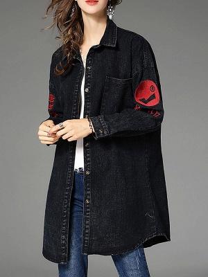 Long Sleeve Shift Casual Pockets Coat_9