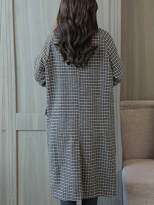 Black Houndstooth Casual Coat_3