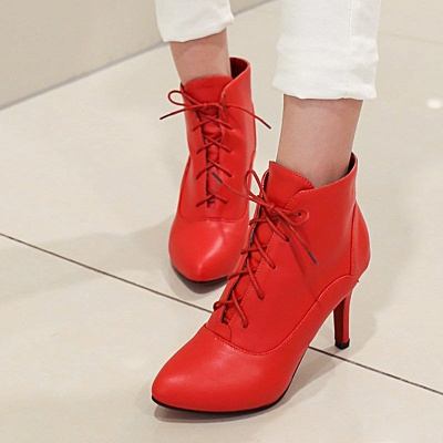 Lace-up Stiletto Heel Pointed Toe Elegant Boots_5