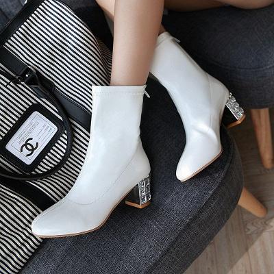 Chunky Heel Zipper Elegant Square Toe Boots_8