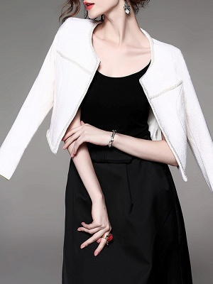 Solid Elegant Crew Neck Long Sleeve Beaded Coat_6