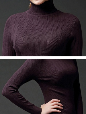 Long Sleeve Knitted Casual Sweater_14