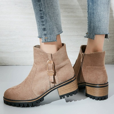 Buckle Chunky Heel Daily Round Toe Zipper Boots_5
