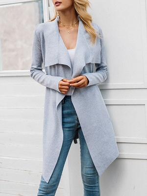 Casual Long Sleeve Solid Coat_2
