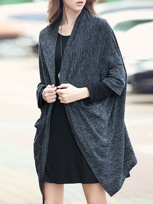 Casual Shift Batwing Pockets Coat_8