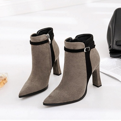 Daily Buckle Pointed Toe Elegant Boots_2