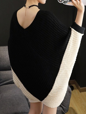 Knitted Batwing Shift Casual Solid Knit Top_6
