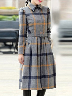 Casual Checkered/Plaid Long Sleeve Spandex Coat_4