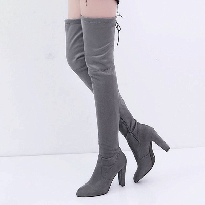 Suede Daily Lace-up Chunky Heel Elegant Boot_3