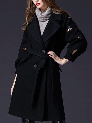 Black Lapel Balloon Sleeve Shift Buttoned Animal Embroidered Coat_8