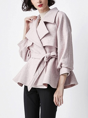 Light Pink Lapel Work Balloon Sleeve Paneled Coat_4