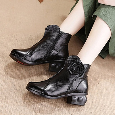 Daily Flower Round Toe Zipper Chunky Heel Boots_6