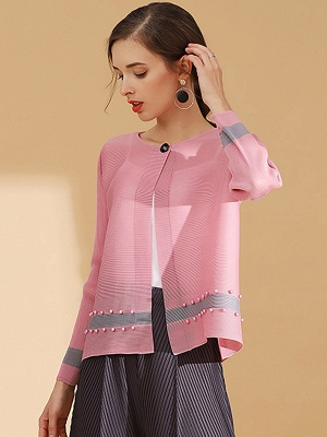 Pink Buttoned Color-block Pleated Beaded Coat_4
