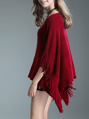 Fringed Batwing Casual Wool Sweater_1