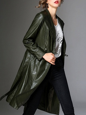 Long Sleeve Leather Work Casual Coat_3