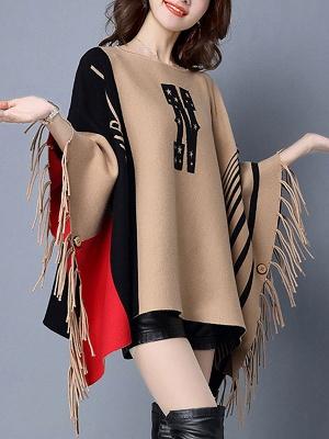 Khaki Casual Bateau/boat neck Sweater_4