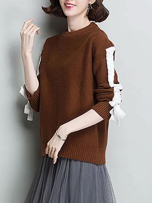 Casual Shift Long Sleeve Paneled Sweater_1