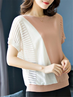 Short Sleeve Casual Knitted Color-block Paneled Sweater_1