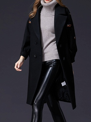 Black Lapel Balloon Sleeve Shift Buttoned Animal Embroidered Coat_5