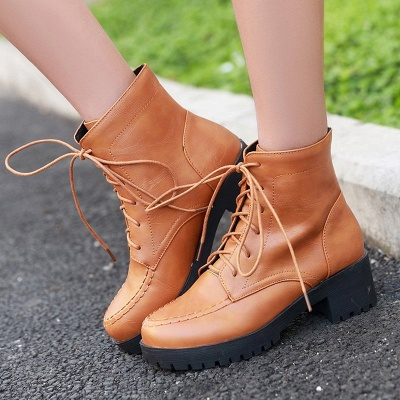 Daily Lace-up Fall PU Round Toe Boot_2