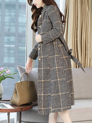 Gray Checkered/plaid Buttoned Work Stand Collar Coats_4