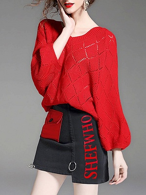 Red Cutout V neck Balloon Sleeve Graphic Sweater_6