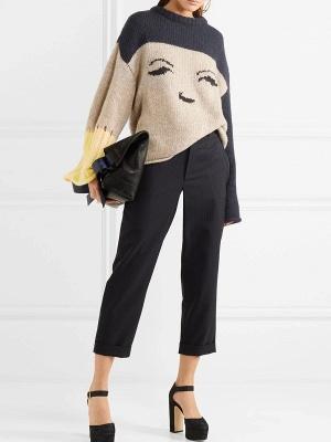 Multicolor Pleated Shift Long Sleeve Plain Sweater_1