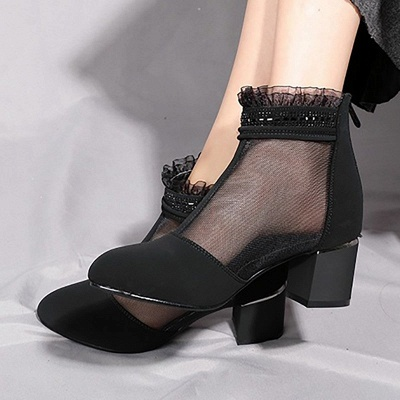 Daily Mesh Fabric Zipper Round Toe Boots_3