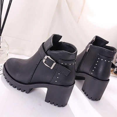 Zipper Daily Round Toe Buckle Chunky Heel Boots_8