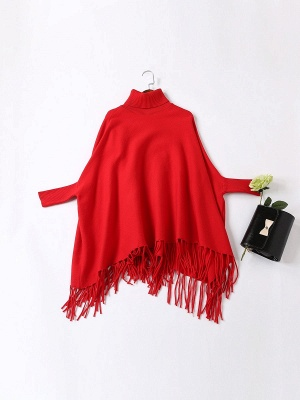 Red Plain Fringed Batwing Knitted Casual Turtleneck Sweaters_10