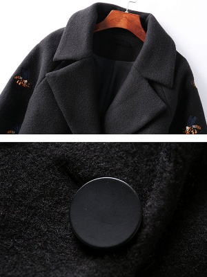 Black Lapel Balloon Sleeve Shift Buttoned Animal Embroidered Coat_7