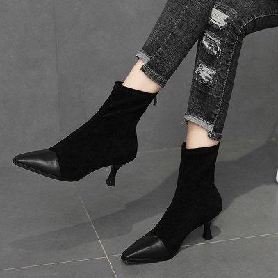 Zipper Cone Heel Daily Pointed Toe Elegant Boots_8