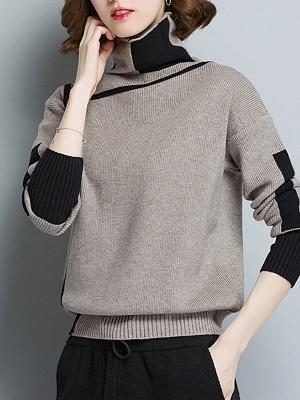 Plain Casual Turtleneck Long Sleeve Shift Sweater_1
