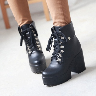 Chunky Heel Lace-up PU Daily Round Toe Boot_3