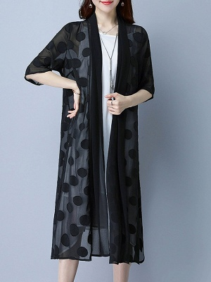 Chiffon Polka Dots Print Sunscreen Coat_7