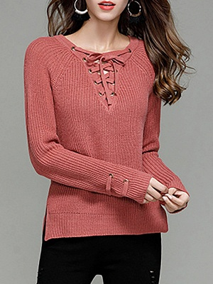 Sheath Long Sleeve Solid Lace up Casual Sweater_2