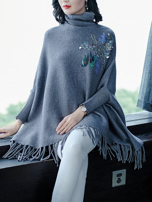 Gray Batwing Casual Fringed Turtleneck Solid Sweater_4