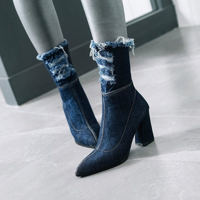 Women's Boots Dark Blue Pointed Toe Chunky Heel Boots_2