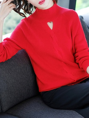 Solid Casual Long Sleeve Cutout Turtleneck Sweater_6