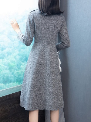 Gray Long Sleeve Casual Shawl Collar Cotton Solid Buttoned Coat_3