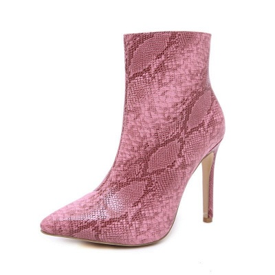 Women's Boots Stiletto Heel Pink Zipper Pointed Toe Sexy Boots_9