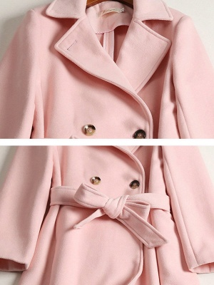 Pink Pockets Work Buttoned Lapel Shift Coat_5