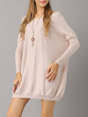 Shift Paneled Solid Casual Long Sleeve Sweater_1