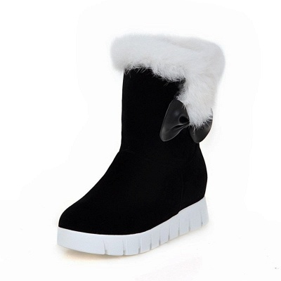 Wedge Heel Suede Fur Round Toe Bowknot Boots_8