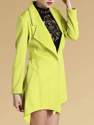 Green Asymmetrical Lapel Buttoned Paneled Coat_4