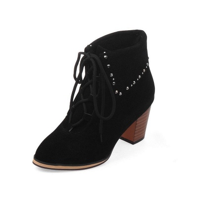 Chunky Heel Daily Rhinestone Pointed Toe Boots_11